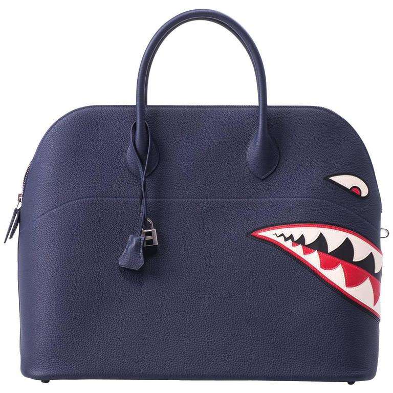 New in Box Hermes Limited Edition Indigo Blue Shark Bolide Bag 1