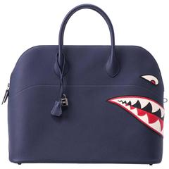 New in Box Hermes Limited Edition Indigo Blue Shark Bolide Bag