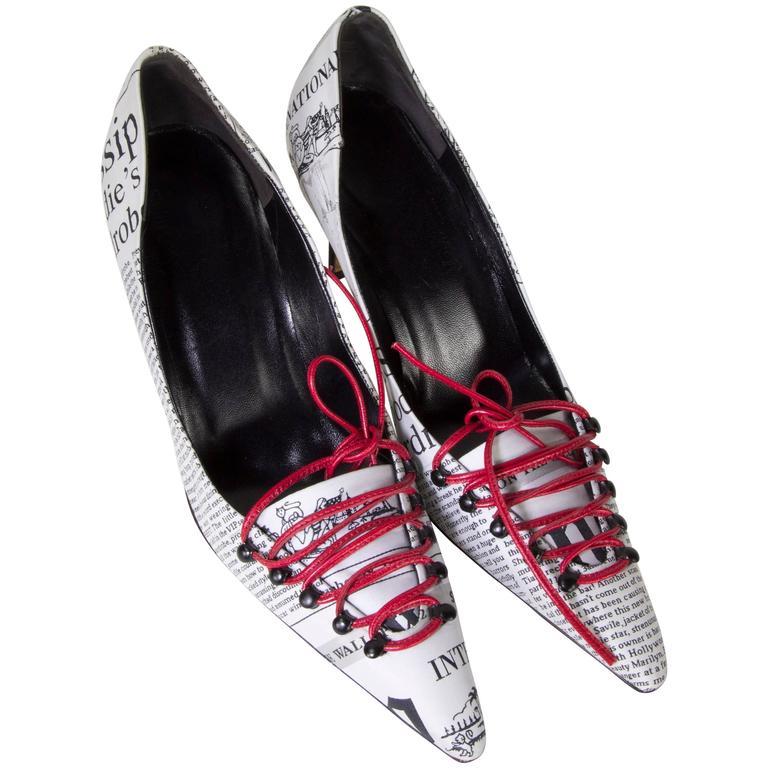 9dea9e1ecdafa9 Vero Cuoio Shoes Suede Leather and Silk Magazine Newspaper Print Pumps Size  40 at 1stdibs