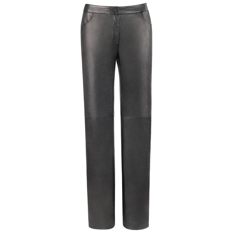 CHANEL A/W 2004 Black Genuine Lambskin Leather Straight Cut Pants