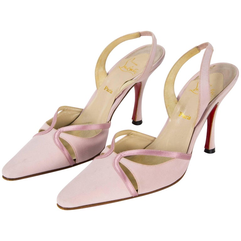 Christian Louboutin Paris Pink Sandal Satin Shoes 39