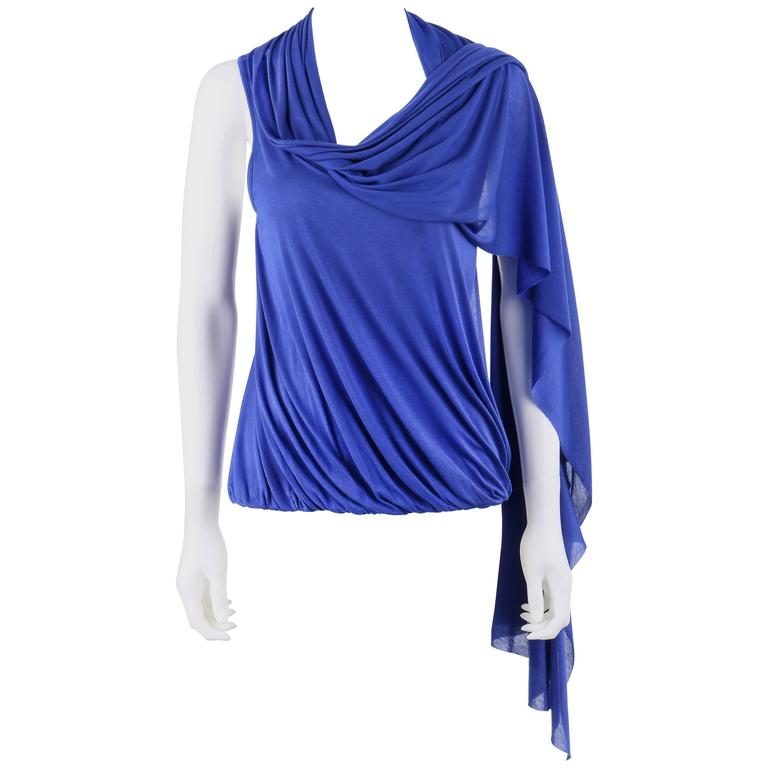 ALEXANDER McQUEEN Resort 2010 Royal Blue Jersey Knit Draped Scarf Blouse