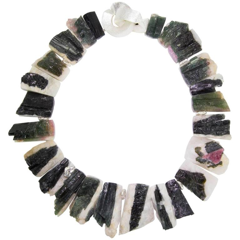 Striking Natural Free-form Tourmaline Druzy Silver Statement Necklace For Sale