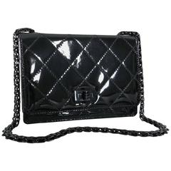 Chanel Limited Edition So Black Patent Quilt Mini Bag with Mademoiselle Chain