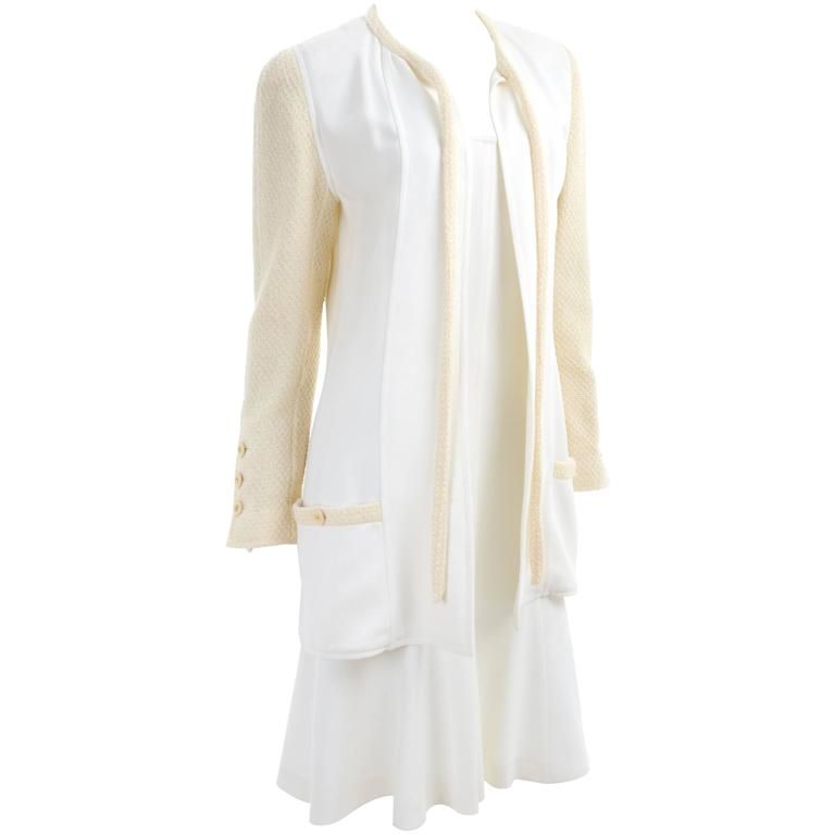 CHANEL Spaghetti Strap Dress & Jacket in Creme & Yellow 1