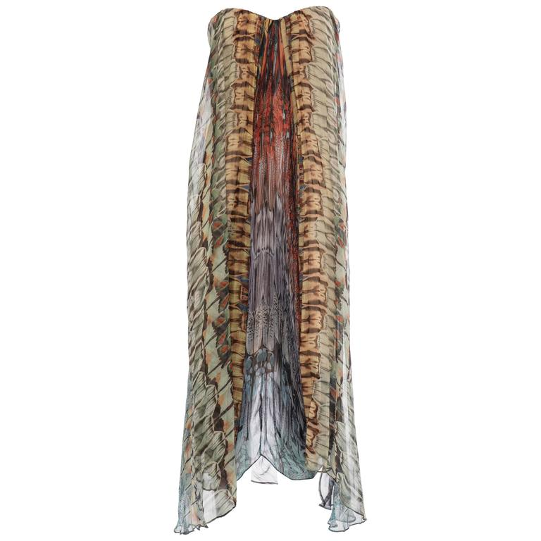 Alexander McQueen Butterfly Printed Silk Chiffon Dress, Spring - Summer 2008 For Sale