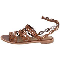 Hermes Gold Tan Kalliste Chaine d'Ancre Sandals Sz 38