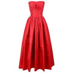 EISA by Cristobal Balenciaga Red Ball Gown with Jacket, 1955