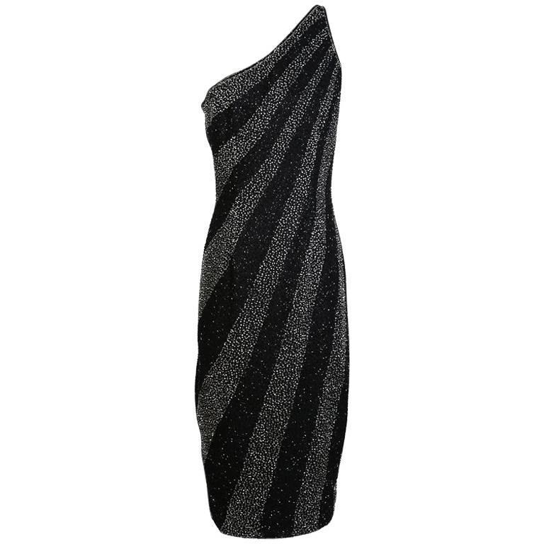 Bob Mackie Beaded Stripes One Shoulder Dress circa 1980s