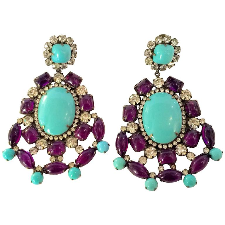 1960s KJL Massive Faux Turquoise Amethyst Drop Clip On Earrings 1