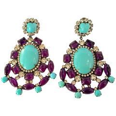 1960s KJL Massive Faux Turquoise Amethyst Drop Clip On Earrings