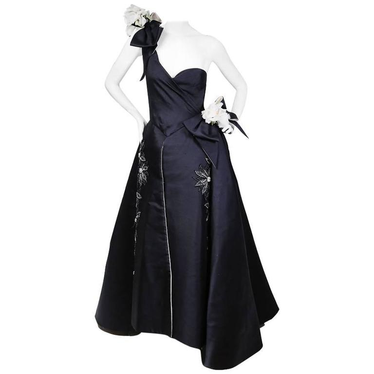 Nina Ricci Navy Blue Gown with White Floral Details circa 1960s