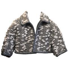 CHANEL white/grey/black jacket size 36