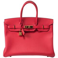 Hermes Birkin 35 Epsom Rouge Casaque Bag