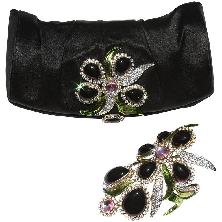 New Tom Ford for Yves Saint Laurent S/S 2004 Crystal Wide Bracelet and Clutch  For Sale