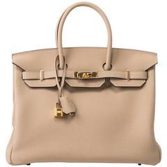 New in Box Hermes Birkin 35 Togo Trench Gold Bag