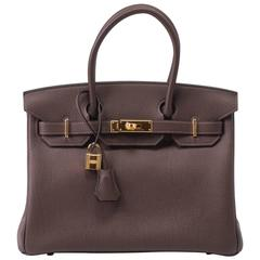 New in Box Hermes Birkin 30 Cacao Gold Togo Bag