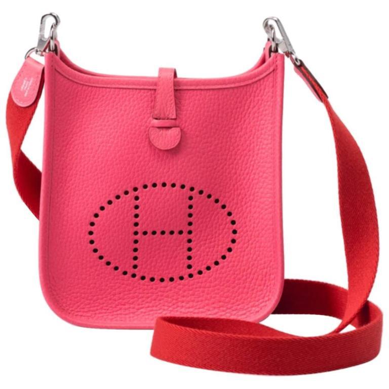 New Hermes Rose Azalee Mini Evelyne Clemence Bag For Sale
