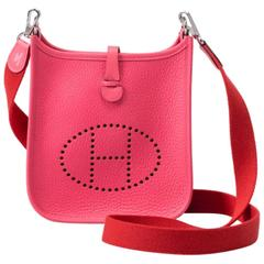 New Hermes Rose Azalee Mini Evelyne Clemence Bag