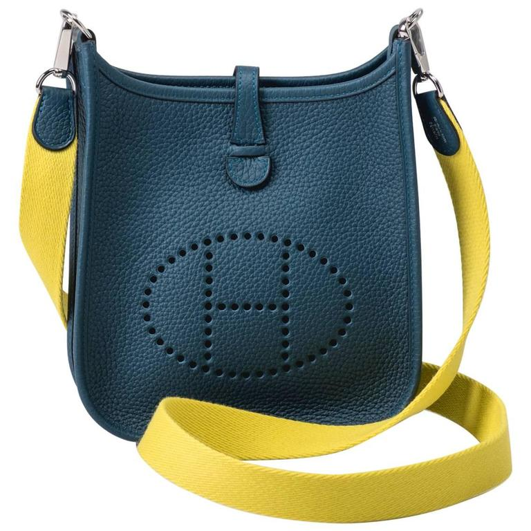 New in Box Hermes Evelyne Mini Blue Colvert/Lime For Sale
