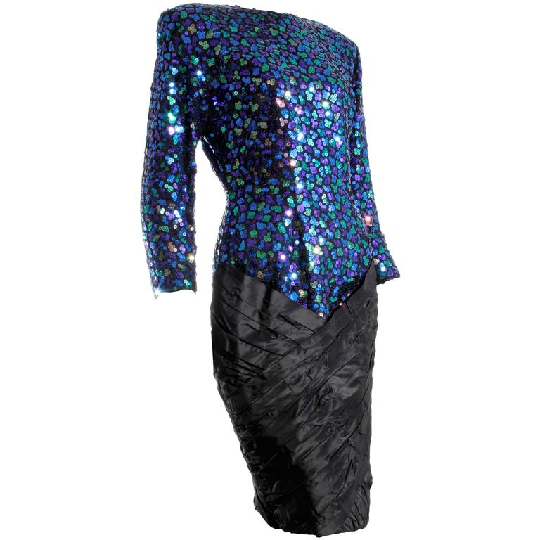 Vicky Tiel Couture Sequined Cocktail Dress with Silk Taffeta Skirt ...