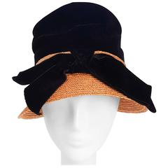 1960s Mr. John Jr. Velvet and Straw Mod Hat