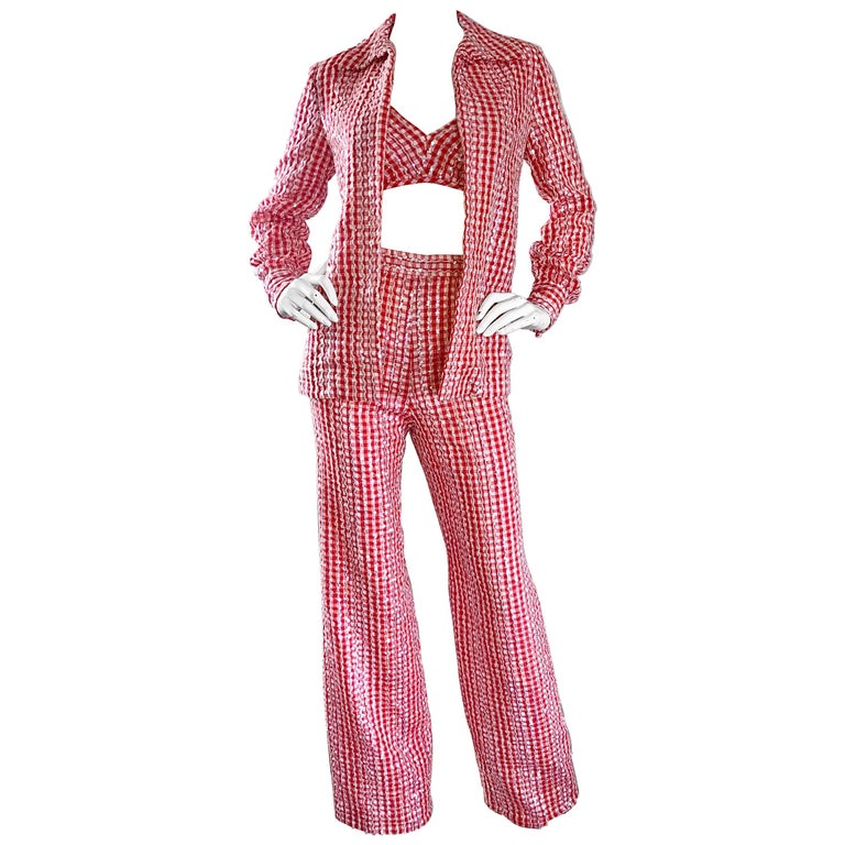 1970s Anthony Muto Red White Gingham Sequined Vintage 70s Three  Piece Ensemble  For Sale
