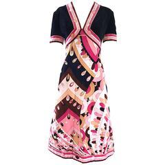 Vintage Emilio Pucci 1960s Signature Kaleidoscope Print 60s Velvet A Line Dress