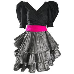 I1980s Vintage Paul Louis Orrier Couture Avant Garde Taffeta 80s Cocktail Dress