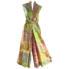 Joseph Magnin 1970s Colorful Silk Brocade Palazzo Leg Vintage Cropped Jumpsuit