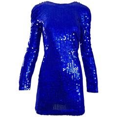 1990s Lillie Rubin Royal Blue Sexy Sequin Long Sleeve Vintage 90s Mini Dress