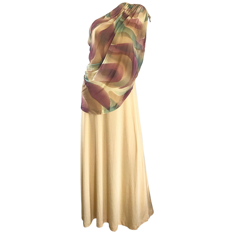 1970s Joy Stevens One Shoulder Gold Grecian Inspired 70s Vintage Gown Maxi Dress