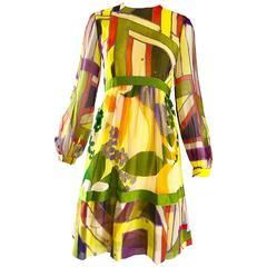 Rodrigues Exceptional Mod Silk Chiffon A Line Retro Vintage Dress, 1960s