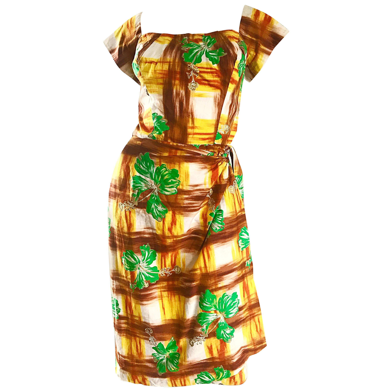 1950s Kamehameha Hawaiian Beautiful Hand Painted Vintage 50s Cotton Wrap Dress