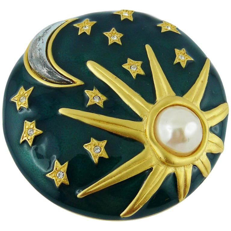karl lagerfeld sun moon stars enamel brooch for sale at 1stdibs
