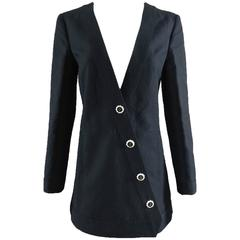 Chanel 14C Black Jacket with White Porcelain CC Buttons
