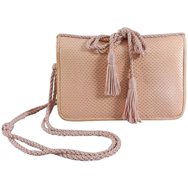 Judith Leiber Pink Lizard Bag with Tassels