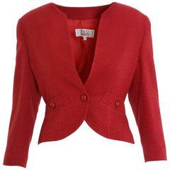 1990s CHRISTIAN DIOR Red Pique Peplum Jacket