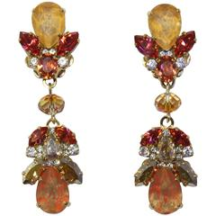 Gold-Plated Statement Double Drop Earrings
