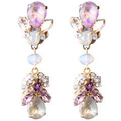 Purple, Gold and Opal Swarovski Crystal Chandelier Earrings