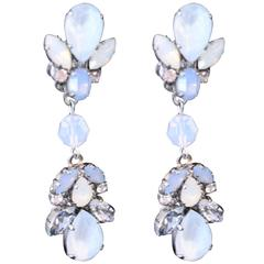 Ice Blue, White and Silver Swarovski Crystal Statement Earrings