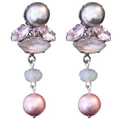 Silver and Pink Swarovski Crystal Pearl Statement Earrings
