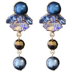 Petrol Blue and Crystal Night Blue Swarovski Pearl Statement Earrings
