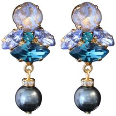 Blue, Turquoise and Gold Swarovski Crystal and Pearl Drop Earrings
