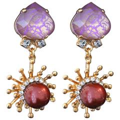Lilac and Gold Swarovski Crystal Pearl Drop Earrings