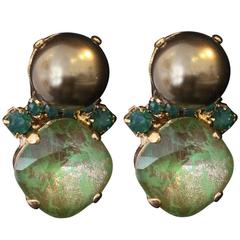 Green and Gold Swarovski Crystal and Pearl Stud Earrings