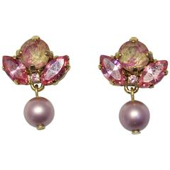 Gold-Plated Swarovski Crystal and Pearl Drop Earrings