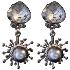 Palladium plated Grey and Silver Swarovski and Pearl Drop Earrings