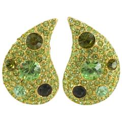 Kenneth Lane Green Stone and Rhinestone Drop-Shaped Clip Earrings