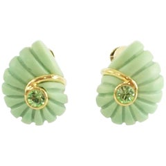 Replica Green Spiral with Green Rhinestone and Gold Detailing Clip Earrings